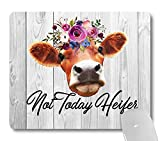 Wknoon Not Today Heifer Funny Quote Mouse Pad Custom, Rustic White Grey Wood Grain Office Desk Accessories, Cute Floral Cow Gifts Office Decor Gaming Mouse Pads