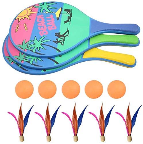 RENFEIYUAN Beach Paddle Ball Juego Badminton Wood Racquet Set Juego al Aire Libre para niños Badminton Raqueta