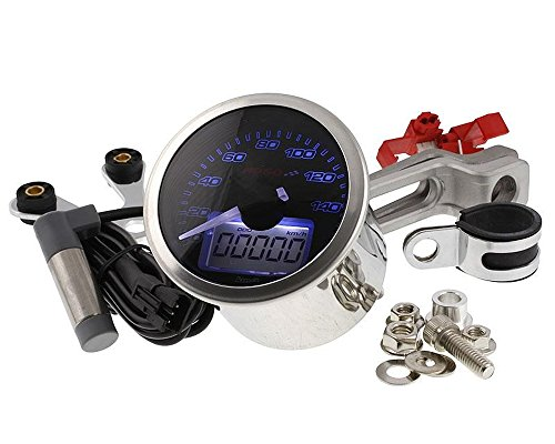 Tachometer KOSO Eclipse Style Analog/Digital 160km/h Rund