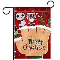 ガーデンフラグウェルカムバナーフラグヤードガーデン屋外装飾オールシーズンの垂直両面アートフラグクリスマスの漫画アイテム