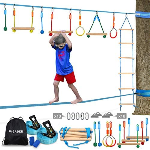 Jugader Ninja Warrior Obstacle Course for Kids with Ladder Gym Rings Rope Knots Monkey Bars product image