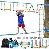Jugader Ninja Warrior Obstacle Course for Kids with Ladder, Gym Rings, Rope Knots, Monkey Bars (Ninja + Slackline)