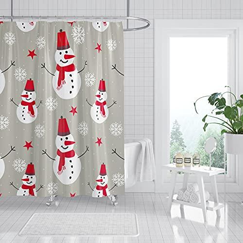 DuschvorhangWeihnachten Duschvorhang Pinguin Stoff Vorhang Hochwertige Umweltfre&liche Polyester Badevorhänge Dekoration Badzubehör