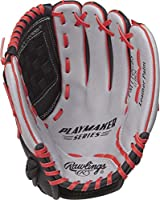 Rawlings Playmaker Youth Baseball Glove, 11 inch, Basket Web, Right Hand Throw, Gray/Black/Red (MODPM110GBS-6/0)