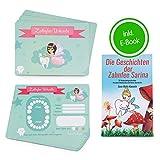 ZWEN Zahnfee Urkunden (20 Stk) I Zahnfee Geschenk für Mädchen & Jungen + GRATIS E-Book mit 20 Zahnfee Geschichten für alle 20 Milchzähne I Süße Zertifikate als Zahnfee Geschenke