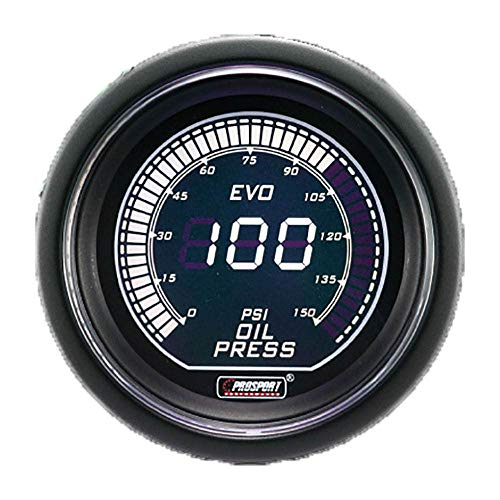 Prosport Performance Reliable Evo Electrical Oil Pressure Gauge, Green and White