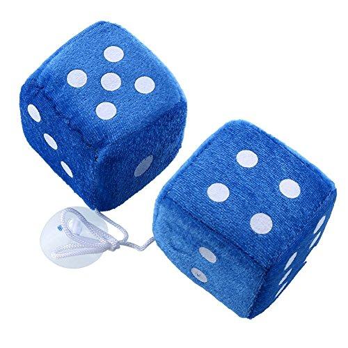 Auntwhale 1 Paar Blau Fuzzy Plüsch Würfel Weiße Punkte Rückansicht Spiegelaufhänger Oldtimer-Autozubehör Auto Dekoration