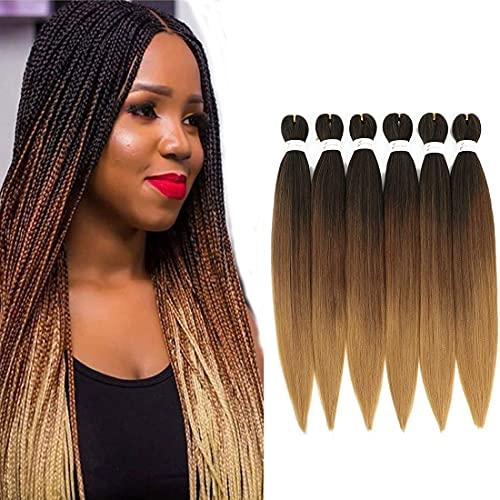 Rajout Cheveux tresséspré-étirés 66cm EZ Braids 6 paquets/LotenFiber synthétique professionnellemeches pour Tressesde crochetYakiTextureTressage Extensions de cheveux(T1B/30/27)