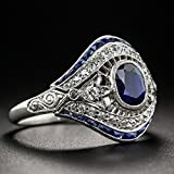 preeyanan Antique 10Kt White Gold Filled Blue Sapphire Ring Wedding Women Jewelry Sz 6-10 (9)