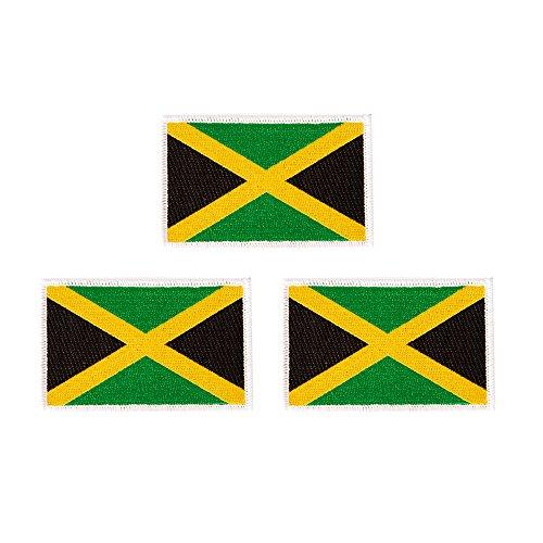 Aufnäher mit Jamaika-Flagge, 8,9 x 5,7 cm, bestickt, taktisch, für Rucksack, Hut, Taschen, Jamaika, 3er-Pack