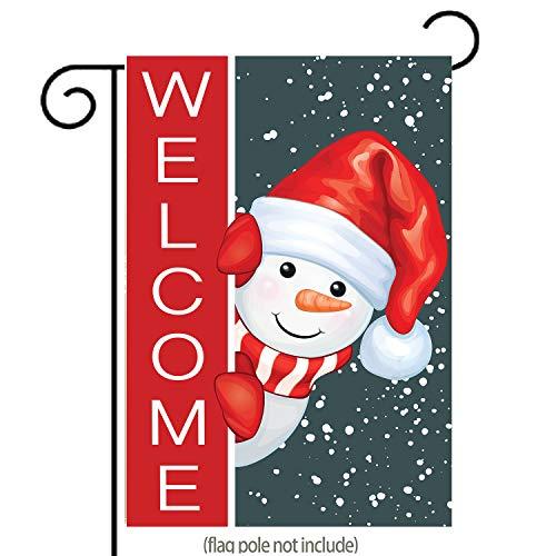 uHome Weihnachts-Welcome-Gartenflagge, super süßer Schneemann in Weihnachtsmütze, rotes Halstuch, doppelseitig, Winter/Weihnachten, Hofflagge zum Aufhellen Ihres Gartens, 31,8 x 45,7 cm Weihnachten