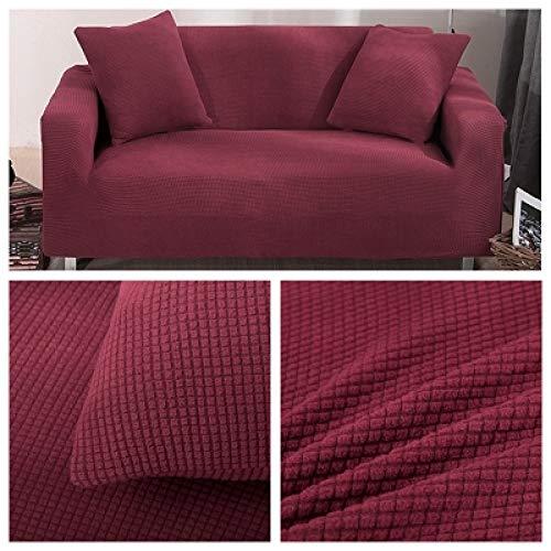LDSHW Funda de sofá,Fundas de sofá para Sala de Estar Funda de sofá seccional sólida Funda de sofá elástica Decoración para el hogar Fundas Sofá Slipover, Rojo Vino, Cubierta d