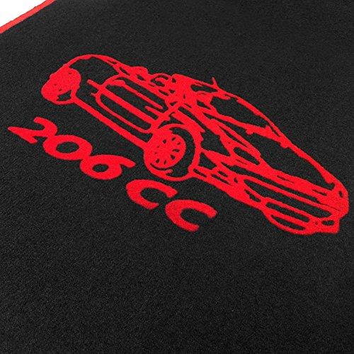 online-fussmatten OF01_04 Passgenaue Velours-Fußmatten mit Automotiv 206cc und Rand in Rot