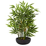 "Nearly Natural 20"" Bamboo Artificial Silk Plants, Green"