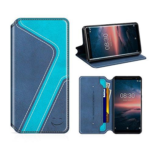 MOBESV Smiley Nokia 8 Sirocco Hülle Leder, Nokia 8 Sirocco Tasche Lederhülle/Wallet Hülle/Ledertasche Handyhülle/Schutzhülle mit Kartenfach für Nokia 8 Sirocco, Dunkel Blau/Aqua