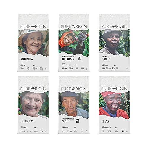 Pure Origin Coffee - Whole Bean Variety Pack - Colombia, Organic Indonesia, Organic Congo, Honduras, Organic Peru, Kenya - Ethically Sourced, Single Origin Coffee, 10-12oz. Bags (6 Pack)