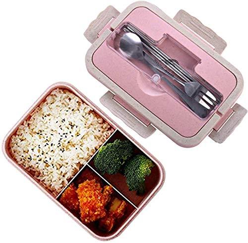 Bento Box, lancheira natural de segurança de trigo, 1000 ml, recipiente de armazenamento de alimentos à prova de vazamento com garfo, pauzinhos, colher para crianças e adultos, pode ir ao micro-ondas (rosa)