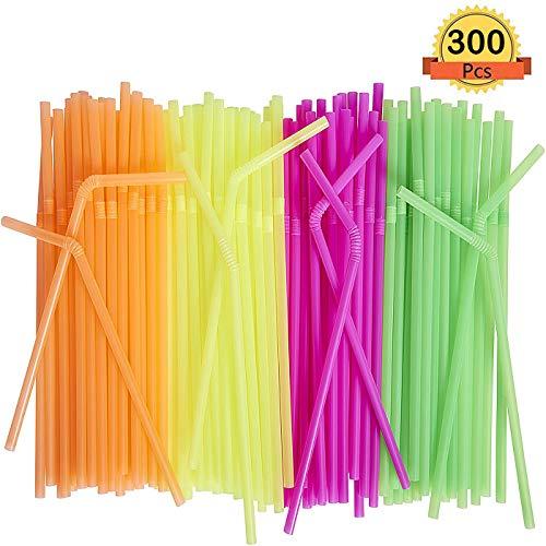 300 Pcs Pajitas de Plástico Flexible,Pajitas para Bebida Desechables, sin BPA, 21cm de Largo, Color Neón - para Fiesta, Bares, Restaurantes