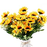 Beferr Artificial Sunflower Forever Flowers Bunch Yellow Helianthus Green Leaves for Art Home Decoration Office Party Wedding 4 Pcs