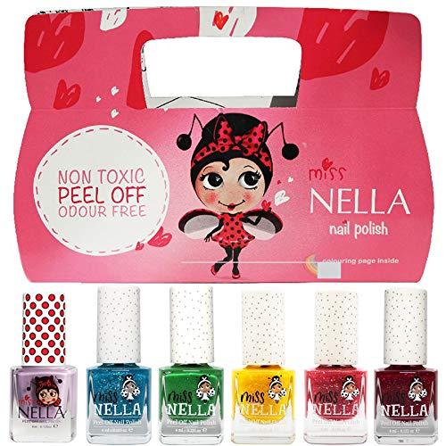 Produktbild Miss Nella Weihnachtsglitter Special Glitzer - 6er Pack Kinder Nagellack mit Peel-off-Formel auf Wasserbasis Non-Toxic - Glitter Weinachtssets - Nagellack für Kinder