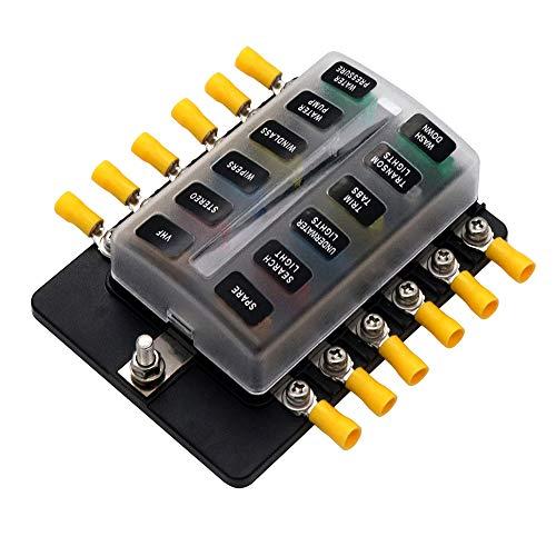 12-Fach Sicherungshalter 12 volt - 32 volt Rote LED-Anzeige Sicherungskasten für Boot Auto Wohnmobil Wohnwagen Solaranlage KFZ normalen Sicherungen