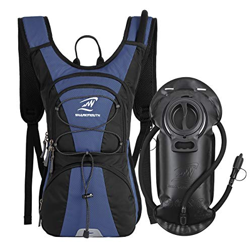 SHARKMOUTH FLYHIKER Hiking Hydration Backpack Pack with 2.5L BPA Free Water Bladder, Lightweight and Comfortable for Short Day Hikes, Day Trips and Trails (NavyBlue)