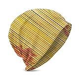 Flor de Loto y Fondo de bambú en Tallos Planta Tropical Impresión de Arte Oriental, Adolescente Unisex Varios Estilos de Gorro de Punto