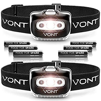Vont Spark LED Headlamp Flashlight (2 PACK) Super Bright Head Lamp Suitable for Running, Camping, Hiking, Climbing, Headlight Includes Red Light, Headlamps for Adults & Kids