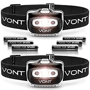 Vont 'Spark' LED Headlamp Flashlight (2 Pack, Batteries Included) Head Lamp Gear Suitable for Running, Camping, Hiking, Climbing, Fishing, Jogging, Headlight with Red Light, Headlamps - Adults, Kids