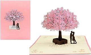 TAFLY カップル桜3Dポップアップグリーティングカードホリデーカードかわいい祝福グリーティングカード立体紙彫刻はがきグリーティングカード封筒付き 1枚