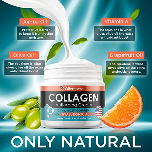 51FDehrQz1L - Collagen Face Cream for Women - Anti Wrinkle Cream for Face with Hyaluronic Acid & Vitamin C - Day & Night Cream for Women Anti Aging Face Moisturizer