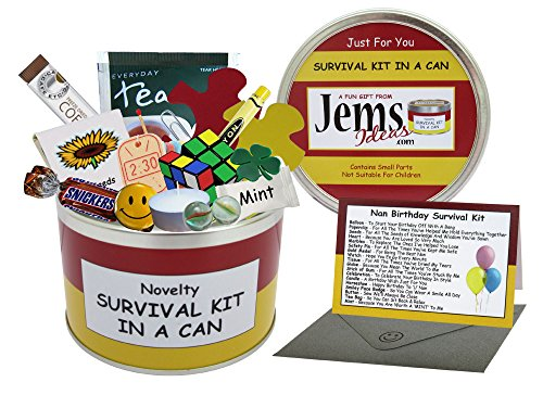 Kit di sopravvivenza, regalo divertente e ironico per il compleanno della nonna, con biglietto d\'auguri - -, Red/Yellow, Approx 10cm x 6cm