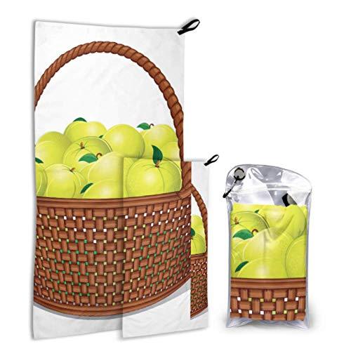 N\A Particluar Cartoon Fruit Basket 2 Pack Microfiber Beach Serviette pour Enfants Serviette pour Corps Ensemble Séchage Rapide Meilleur pour Gym Voyage Randonnée Yoga Fitnes