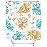 Set di tende da doccia Blue Marine di Stelle Marine e conchiglie Arancione Aqua Beach Tessuto in Poliestere Decor con 12 ganci Impermeabile lavabile 12 asole per bagno