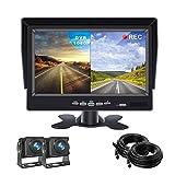 Backup Camera Monitor,7 inch TFT LCD Reversing Camera Monitor with 2 Wide-Angle 170° Reversing Camera IP68 Waterproof/Night Vision for Vans,Camping Cars,School Bus,RVs