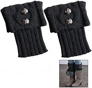 LHKJ, LHKJ Tejer Calcetines de Arranque, Calentadores de la Pierna, Las Mujeres de Moda de Invierno Calentadores de Piernas Botón (Negro)