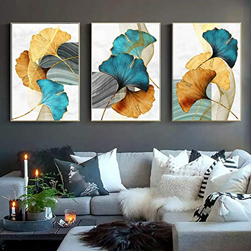 XIANGPEIFBH Ginkgo Biloba Blue Green Yellow Gold Abstract Poster Canvas Print Plant Leaf Wall Art Painting Modern Picture Room Decor 40x60cmx3pcs Unframed