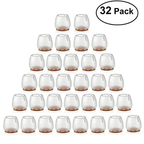 NUOLUX 32pcs Silikon Stuhl Kappen Füße Pads Möbel Tisch deckt Boden Beinschützer für 25-29MM Runde Beine (Transparent + braun)