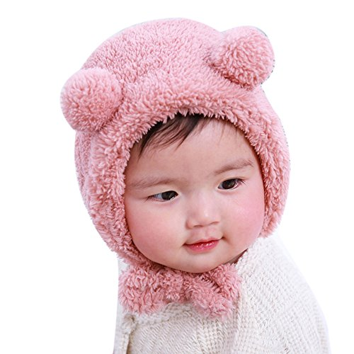 IHGWE Juego de gorro y bufanda para bebé con pompones de pelo Rosa. Talla única