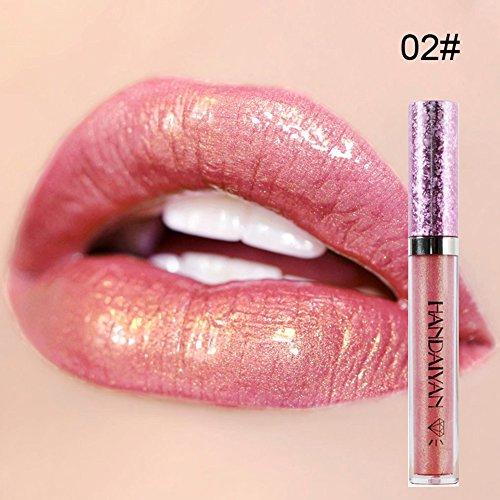 HANDAIYAN Metallischer Lipgloss-Diamant-glänzender Glitter-flüssiger Lippenstift-glänzende...