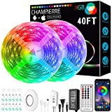 Waterproof LED Strip Lights, 40FT 2 Roll RGB 5050 Music Sync Color Changing Led Lights with 40 Keys Remote Controller and App Control, Dimmable Home and Garden Decor for Outdoor Bedroom Kitchen Party