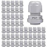 Gebildet 50 Piezas Impermeable Conectores de Cable, PG7 Glándulas de Cable con Ajustables Juntas, Prueba de Agua de 3-6.5mm Plastico Gland Conectores, M12 x 1.5 (Blanco)