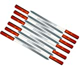 LavoHome 23-Inch Heavy Duty 1-Inch Wide BBQ Barbecue Shish Kabob Skewers Wooden Handles Stainless Steel (12)
