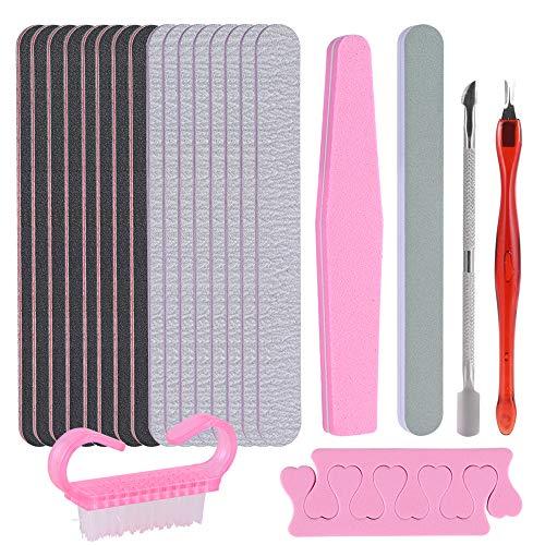 Faburo 23pz Limas de Uñas Profesionales para Limpiar Uñas, Manicura Kit de Manicura Para Salón y Uso Doméstico Para Uñas Naturales Uñas de Gel, Manicura Personal de Bricolaje