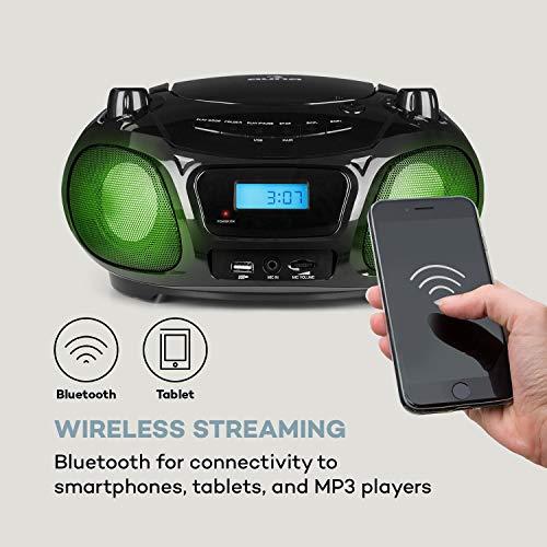 auna Roadie Sing (Karaoke Player, CD-MP3, Boombox, Stereoanlage,USB-Port, UKW Radio, Bluetooth 3.0, Sing-A-Long Funktion, Netz- und Batterie-Betrieb,LED-Beleuchtung, Mikrofon) schwarz