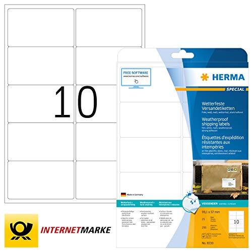 HERMA 8330 Wetterfeste Folien-Versandetiketten DIN A4 (99,1 x 57 mm, 25 Blatt, Polyesterfolie, matt) selbstklebend, bedruckbar, extrem stark haftende Adressaufkleber, 250 Klebeetiketten, weiß