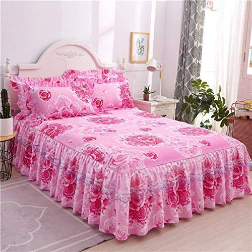 ASDFF Bettlaken Romantischer Bett Rock rutschfeste Spannbetttuch Tagesdecke Chiffon Bettlaken für Hochzeitsdekoration Bettdecke mit Gummiband 200x220cm 18