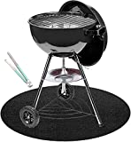 ZBXFCSH 36-inch Round Grill Protective Deck and Patio Mat Plus Tong, Large Non-Slip Grill ...