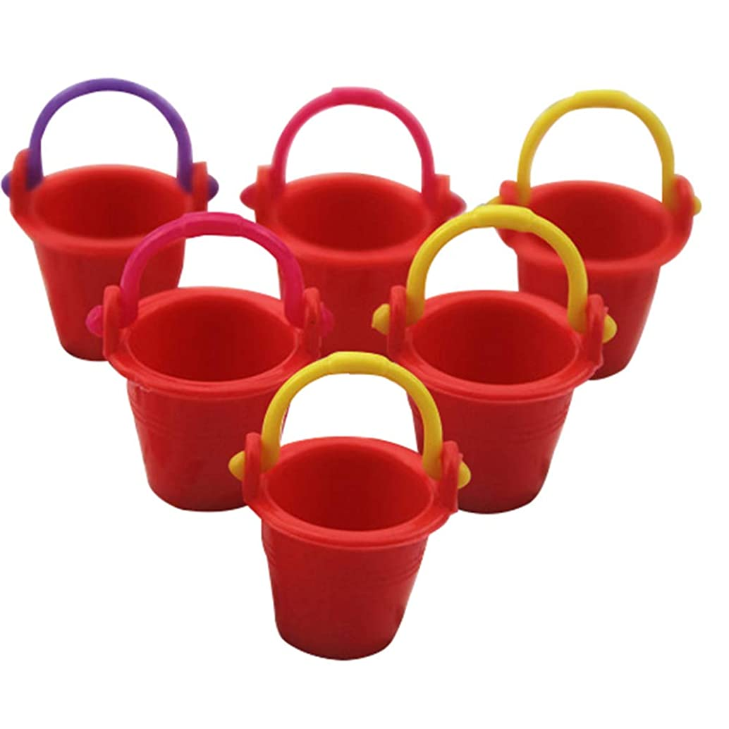 Yamalans Cute Miniature Bucket Model,6pcs Mini House Accessories Pretend Play Toys Gift Red One Size