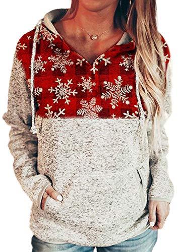 Dokotoo Womens Hoodie Winter Fall Cute Button Collar Xmas Christmas Snowflake Long Sleeve Knit Stitching Drawstring Sweatshirts and Hoodies Pullover...